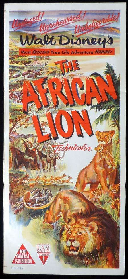 THE AFRICAN LION Original Daybill Movie Poster DISNEY RKO
