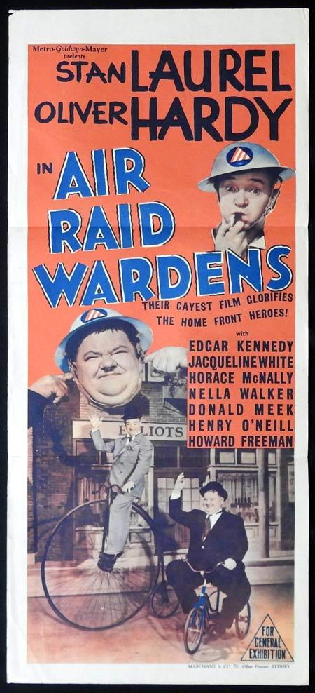 AIR RAID WARDENS Original Daybill Movie Poster Laurel and Hardy Marchant Graphics