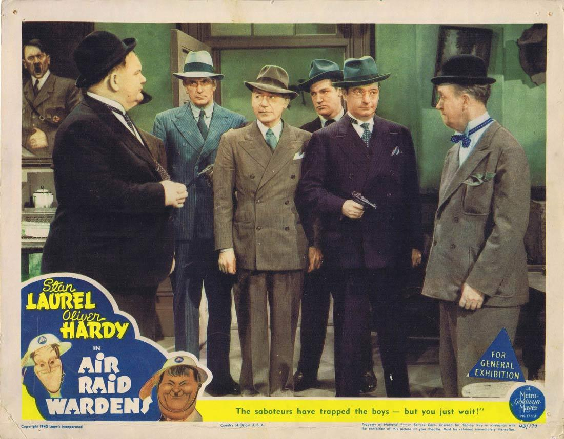 AIR RAID WARDENS Lobby Card Stan Laurel Oliver Hardy Edgar Kennedy