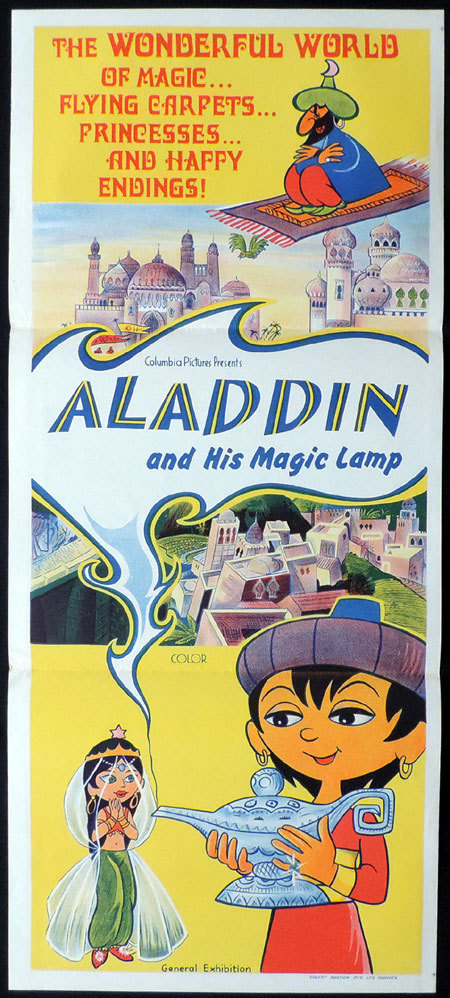 ALADDIN AND HIS MAGIC LAMP, Australian Daybill, Movie poster, Columbia Pictures