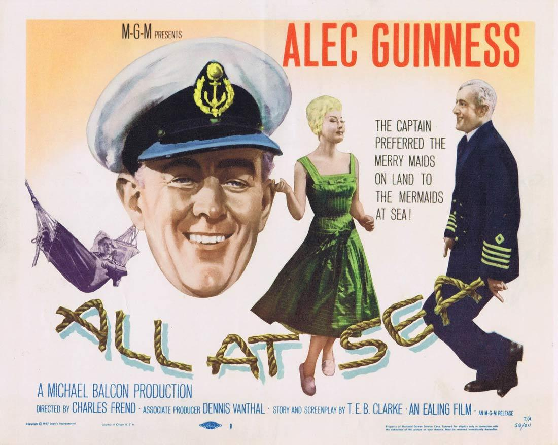 ALL AT SEA Lobby Card Alec Guinness Ealing British Comedy