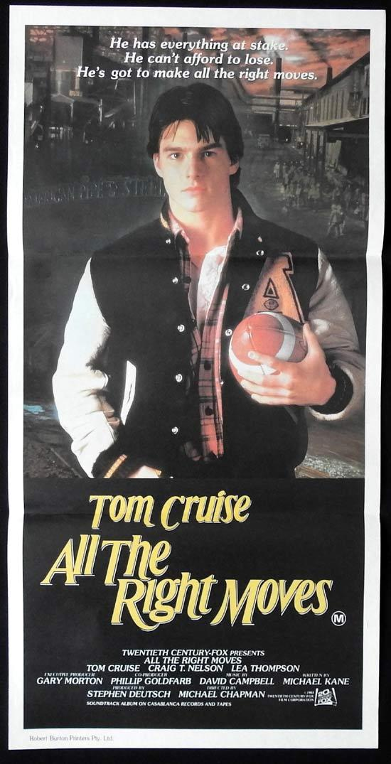 ALL THE RIGHT MOVES Original Daybill Movie Poster Tom Cruise Craig T. Nelson Lea Thompson
