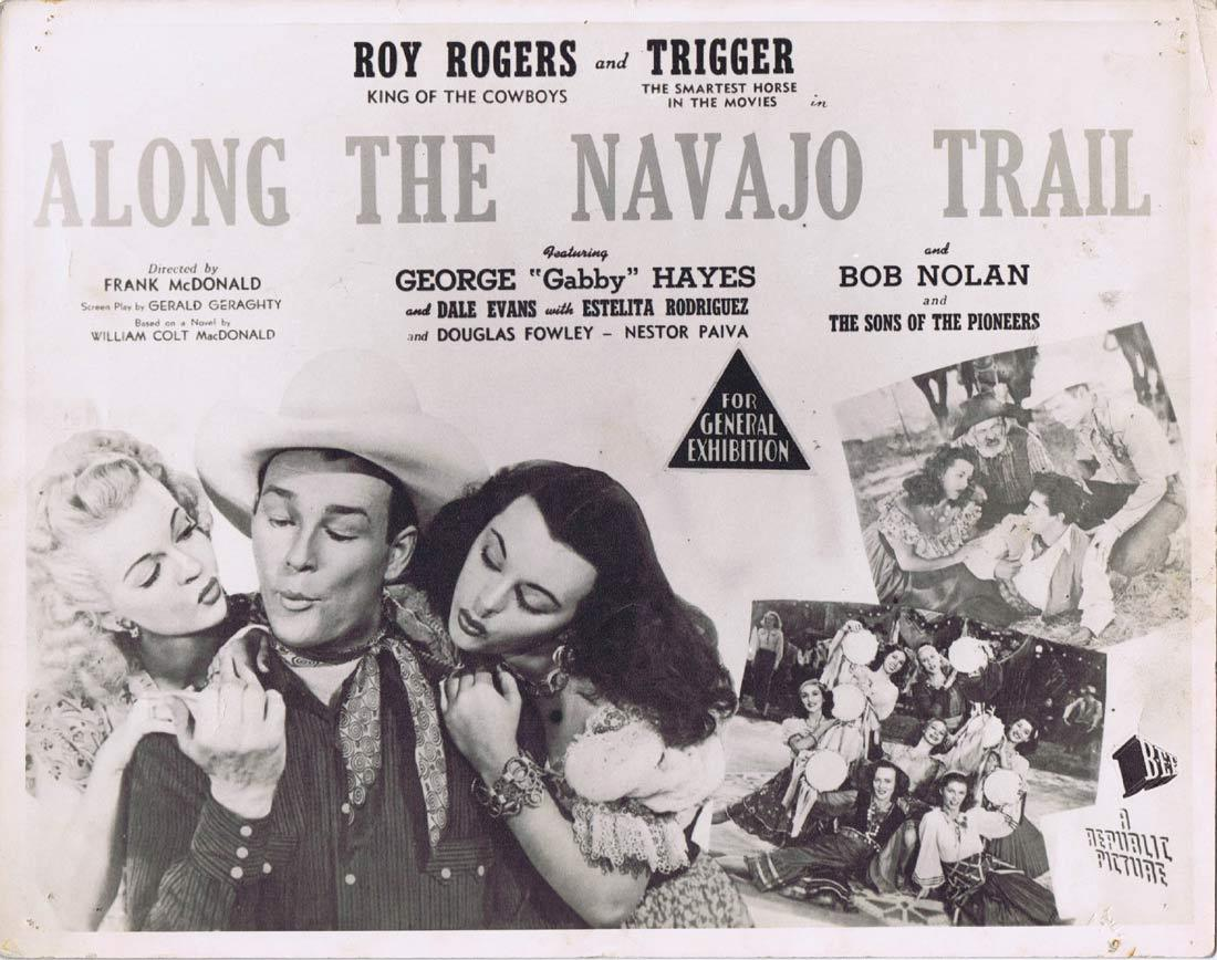 ALONG THE NAVAJO TRAIL Vintage Australian Lobby Card Roy Rogers George 'Gabby' Hayes Dale Evans