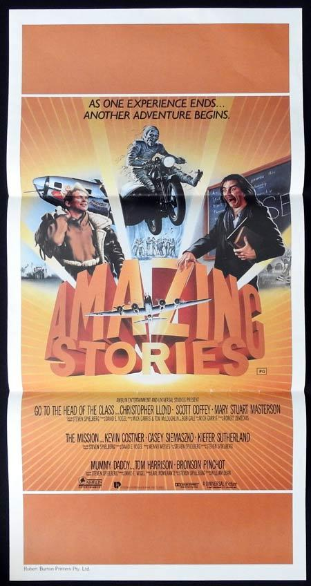 AMAZING STORIES Original daybill Movie Poster Motorcycle Biker Christopher Lloyd