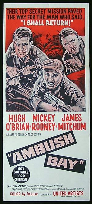 AMBUSH BAY, Daybill Movie poster, Mickey Rooney, Hugh O'Brien