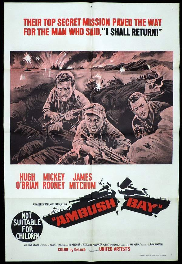 AMBUSH BAY One Sheet Movie Poster Mickey Rooney