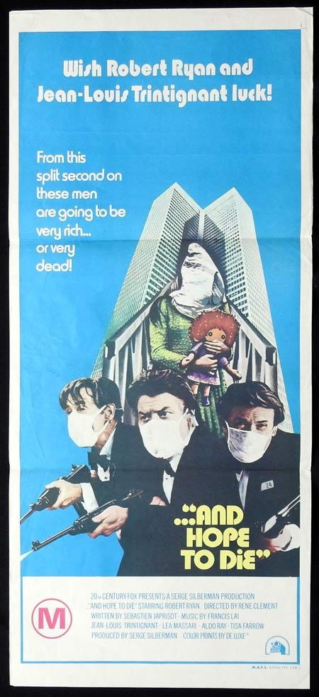 AND HOPE TO DIE Original Daybill Movie Poster Jean-Louis Trintignant Robert Ryan