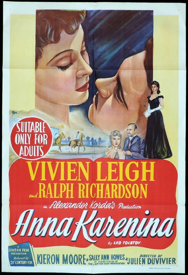 ANNA KARENINA Original One sheet Movie Poster VIVIEN LEIGH Ralph Richardson