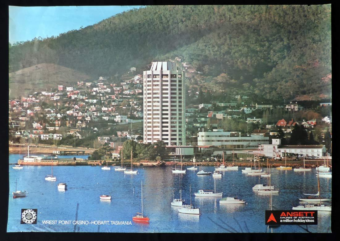 ANSETT AIRLINES Vintage Travel Poster c.1970s Wrest Point Casino Tasmania