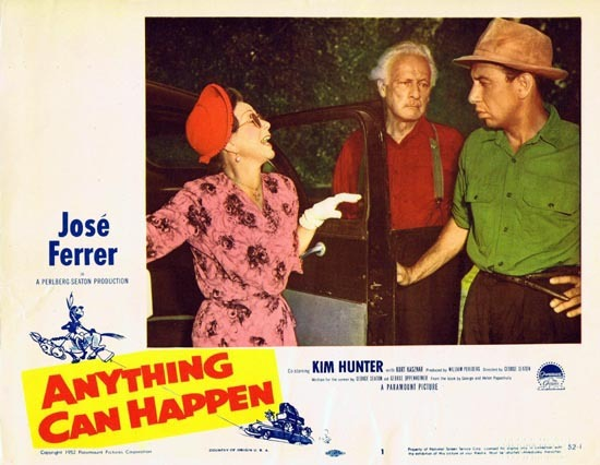 ANYTHING CAN HAPPEN 1952 Jose Ferrer US Lobby card 1