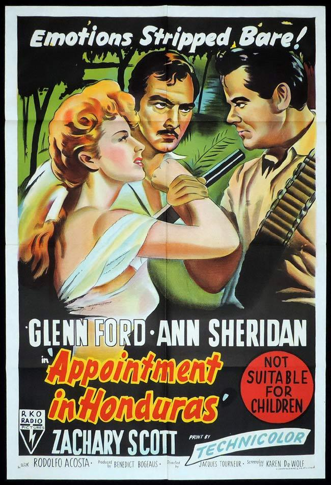 APPOINTMENT IN HONDURAS, Original One sheet, Movie Poster, RKO, Glenn Ford, Ann Sheridan