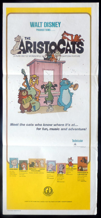 THE ARISTOCATS Original 70s release Daybill Movie poster Disney