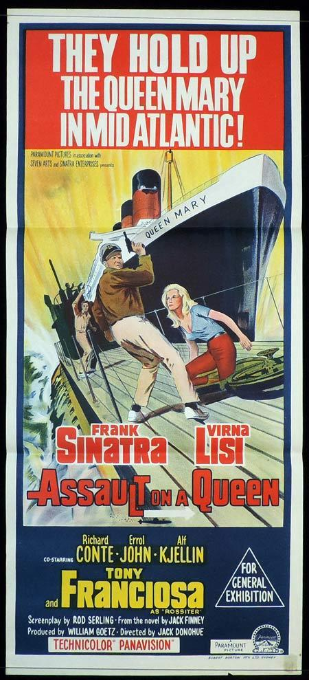 ASSAULT ON A QUEEN Daybill Sheet Movie Poster Frank Sinatra Queen Mary