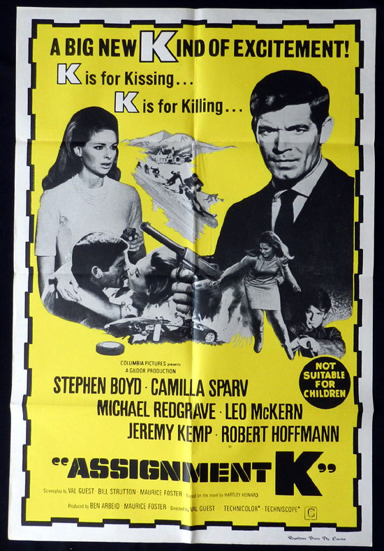 ASSIGNMENT K '68 Australian One sheet Movie Poster Camilla Sparv Stephen Boyd