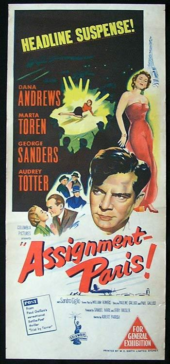 ASSIGNMENT IN PARIS '52 Dana Andrews Movie poster