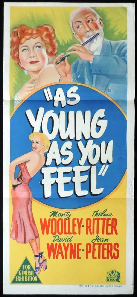 AS YOUNG AS YOU FEEL Original Daybill Movie Poster MARILYN MONROE Monty Woolley Jean Peters