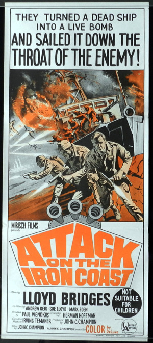 Attack on the Iron Coast Movie Poster, Australian Daybill, Paul Wendkos, Lloyd Bridges, Andrew Keir, Sue Lloyd