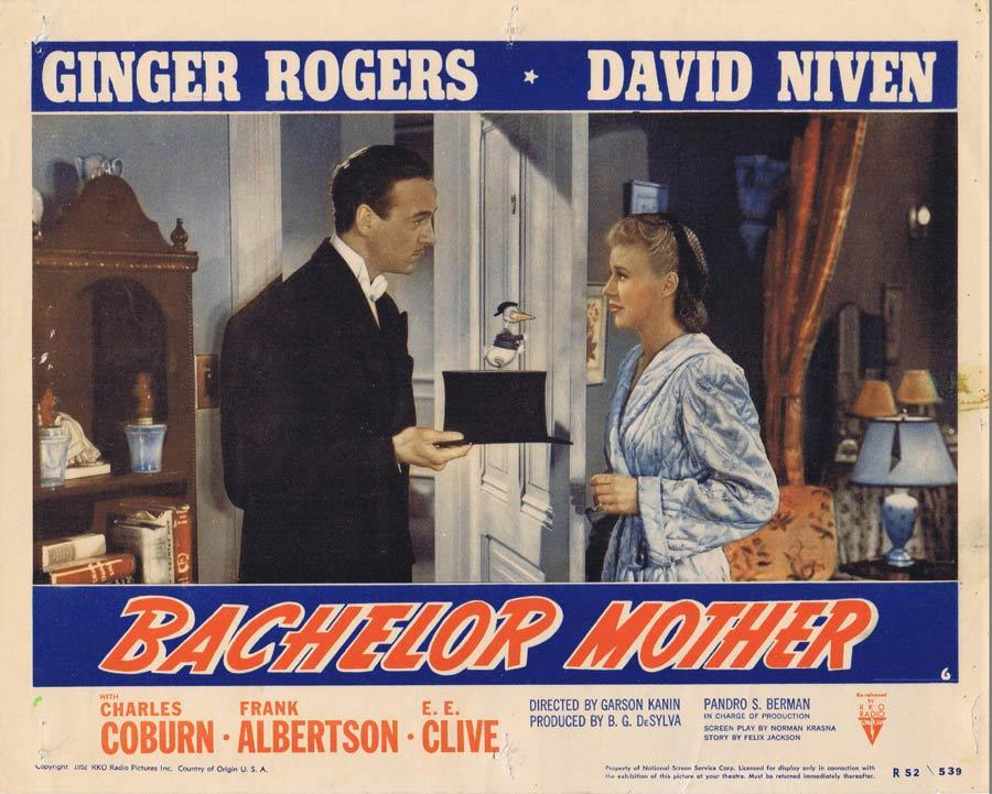 BACHELOR MOTHER Lobby Card David Niven Ginger Rogers