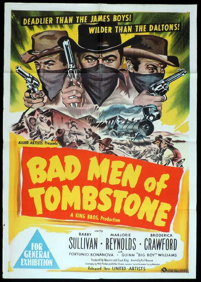 BAD MEN OF TOMBSTONE, Original One sheet, Movie Poster, Barry Sullivan, Western
