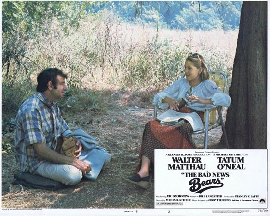 BAD NEWS BEARS 1976 Lobby Card 2 Walter Matthau Tatum O'Neal