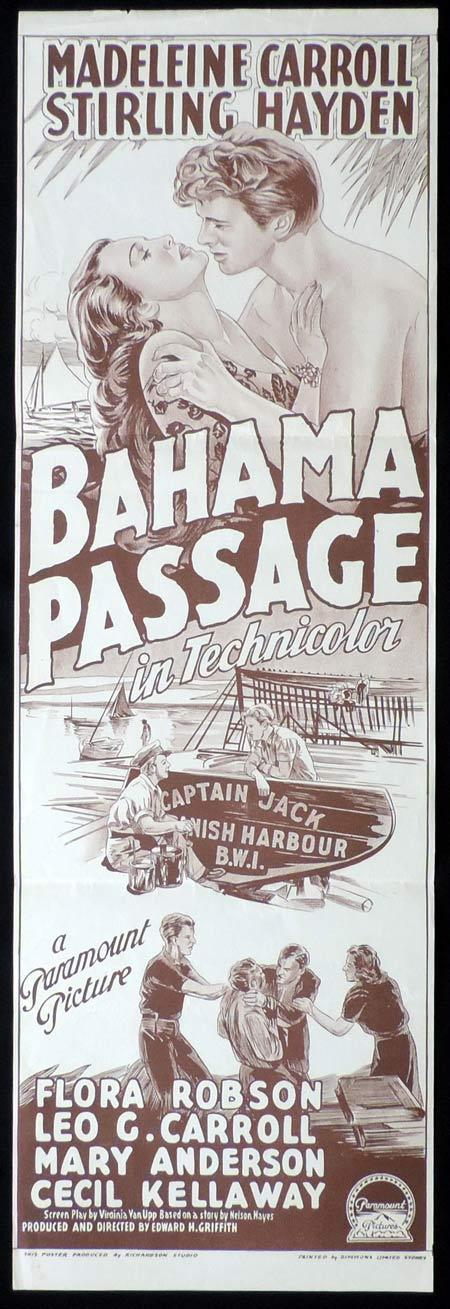 BAHAMA PASSAGE Original Daybill Movie Poster MADELEINE CARROLL Sterling Hayden Richardson Studio