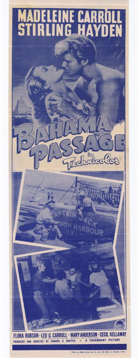 BAHAMA PASSAGE Original Daybill Movie Poster Madeleine Carroll Sterling Hayden Photo Litho