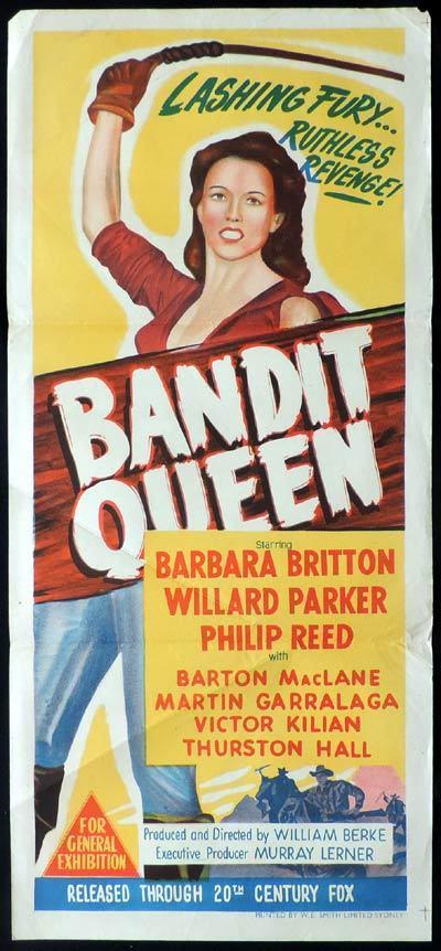 Parker Store Near Me >> BANDIT QUEEN Daybill Movie poster Barbara Britton