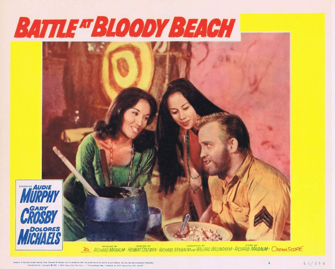 BATTLE AT BLOODY BEACH Lobby Card 4 Audie Murphy Gary Crosby Dolores Michaels