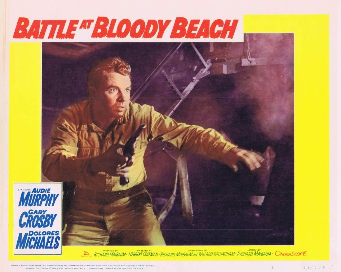 BATTLE AT BLOODY BEACH Lobby Card 5 Audie Murphy Gary Crosby Dolores Michaels