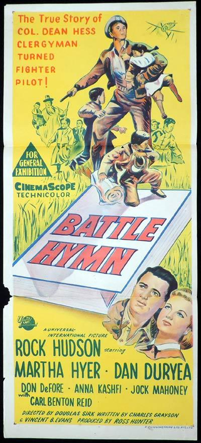 BATTLE HYMN Original Daybill Movie Poster Rock Hudson