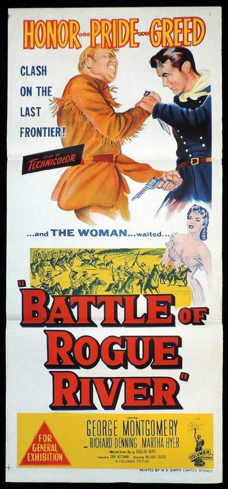 BATTLE OF ROGUE RIVER Original Daybill Movie Poster George Montgomery William Castle