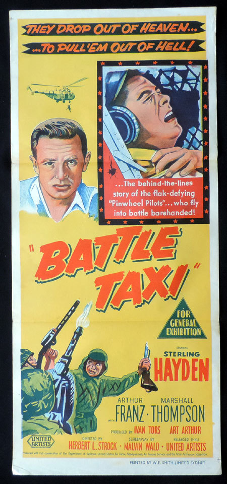 BATTLE TAXI, Original, Australian Daybill, Movie poster, Helicopter Pilots