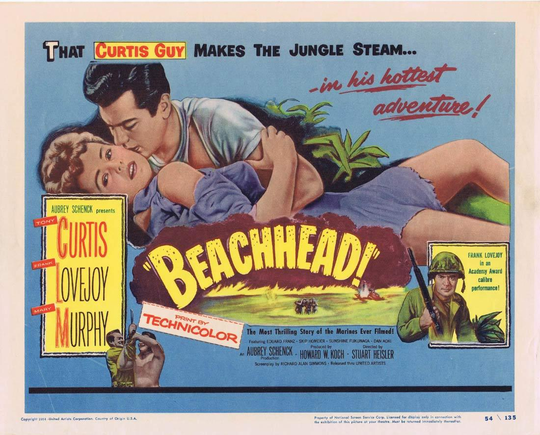 BEACHHEAD Title Lobby Card Tony Curtis Frank Lovejoy Mary Murphy