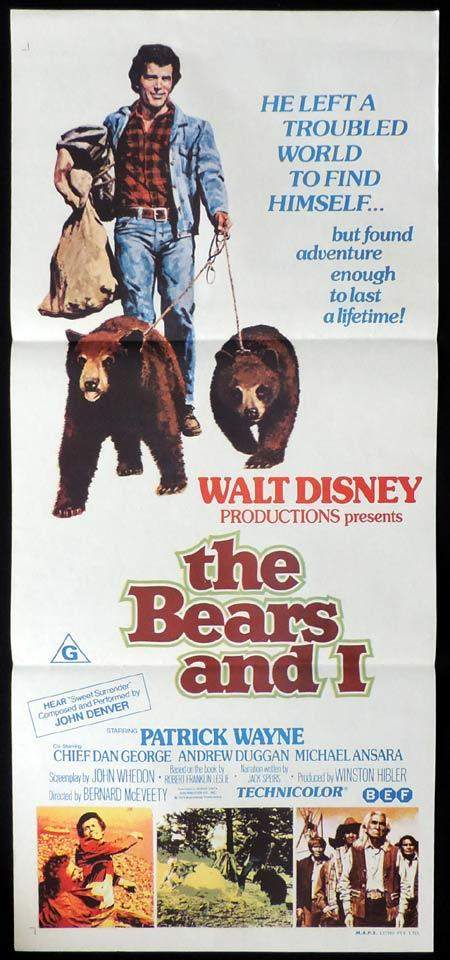 THE BEARS AND I Original Daybill Movie Poster Walt Disney Patrick Wayne