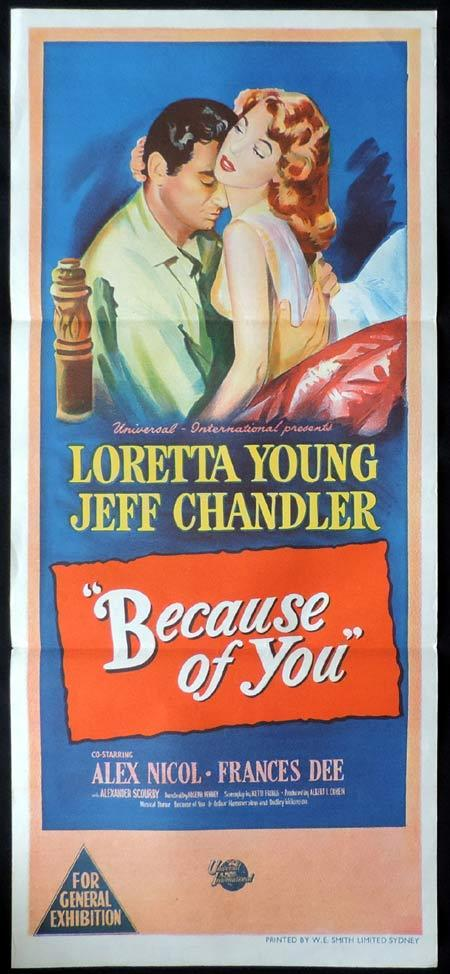 BECAUSE OF YOU Original Daybill Movie Poster Loretta Young Jeff Chandler