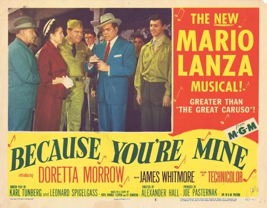 BECAUSE YOU'RE MINE 1952 Mario Lanza Lobby Card 5