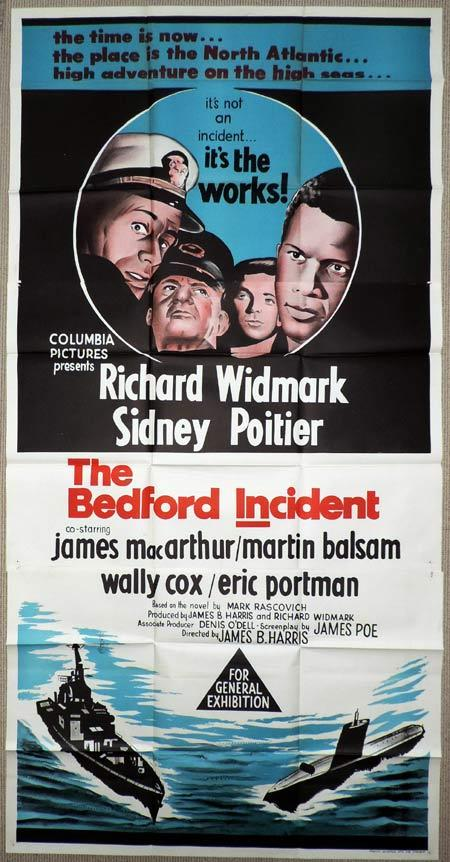 THE BEDFORD INCIDENT Original 3 Sheet Movie Poster Richard Widmark Sidney Poitier