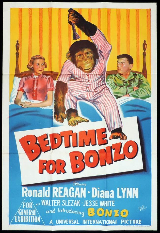 BEDTIME FOR BONZO, Original One sheet, Movie Poster, Ronald Reagan, Diana Lynn