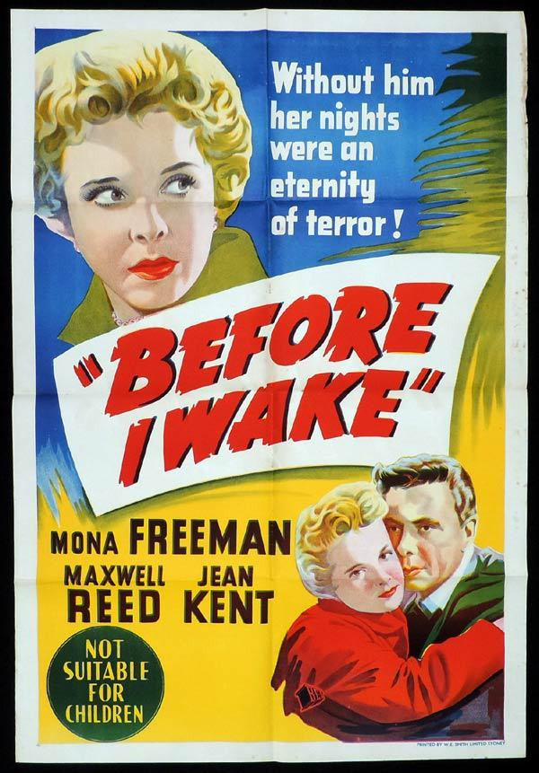 BEFORE I WAKE One Sheet Movie Poster Mona Freeman  Film Noir