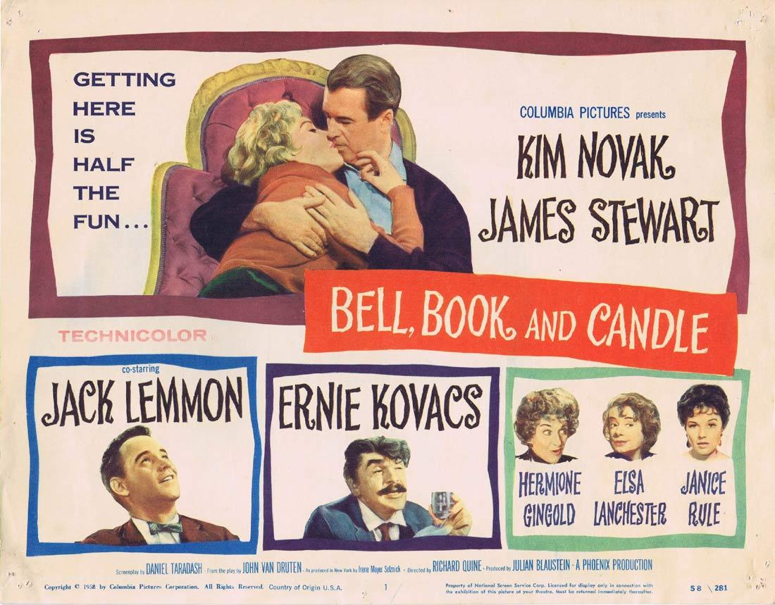 BELL BOOK AND CANDLE Title Lobby Card James Stewart Kim Novak Jack Lemmon