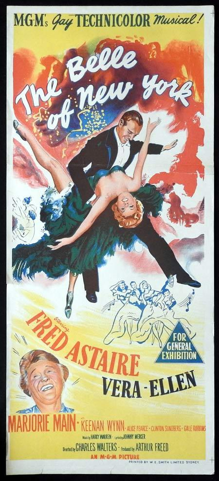 THE BELLE OF NEW YORK Original daybill Movie Poster Fred Astaire Vera-Ellen