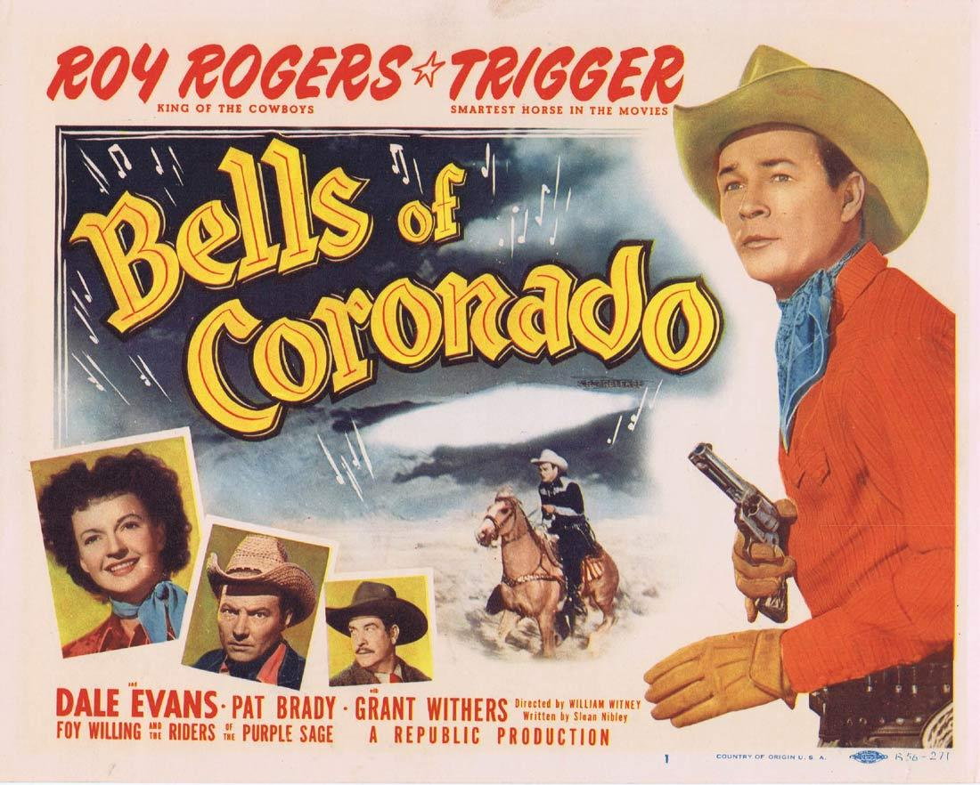 BELLS OF CORONADO Title Lobby Card Roy Rogers Dale Evans Republic Western 1956r