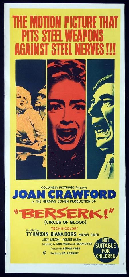 Berserk!, Jim O'Connolly, Joan Crawford Ty Hardin Judy Geeson