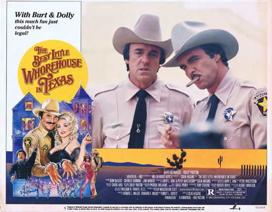 BEST LITTLE WHOREHOUSE IN TEXAS, Lobby Card, Dolly Parton, Burt Reynolds