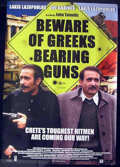 BEWARE OF GREEKS BEARING GUNS Zoe Carides Movie Poster Australian One sheet