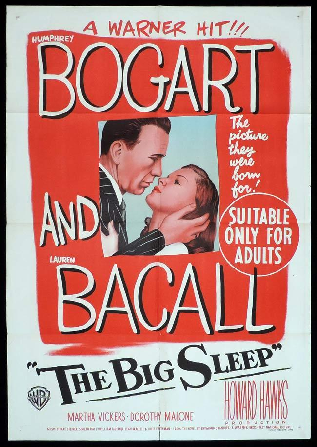 THE BIG SLEEP Original One sheet Movie Poster  HUMPHREY BOGART Lauren Bacall