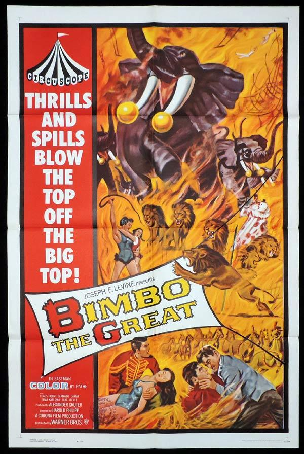 BIMBO THE GREAT US One Sheet Movie Poster Circus Elephant Clowns