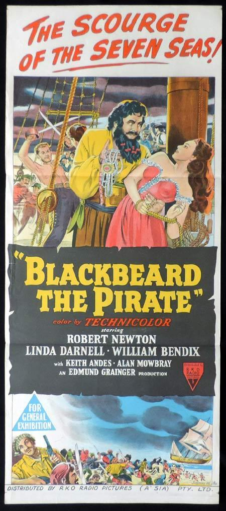 BLACKBEARD THE PIRATE Original Daybill Movie Poster Robert Newton
