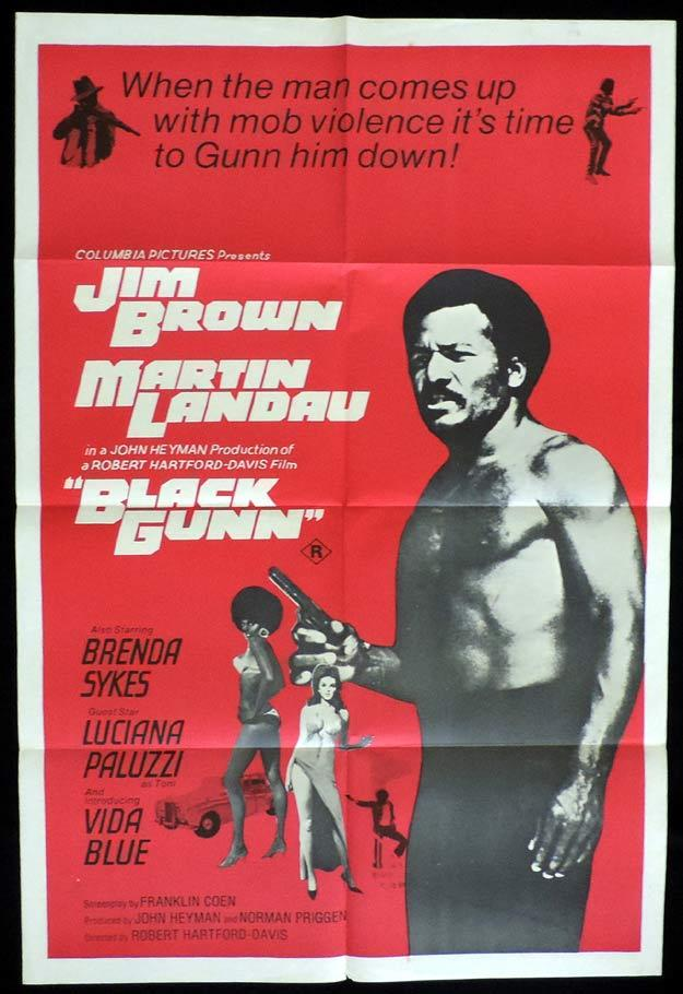 BLACK GUNN One Sheet Movie Poster Brown Martin Landau