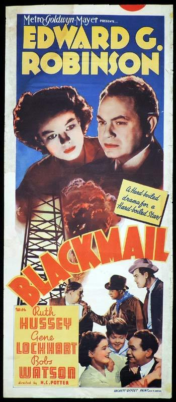 BLACKMAIL Long Daybill Movie poster 1939 Edward G. Robinson